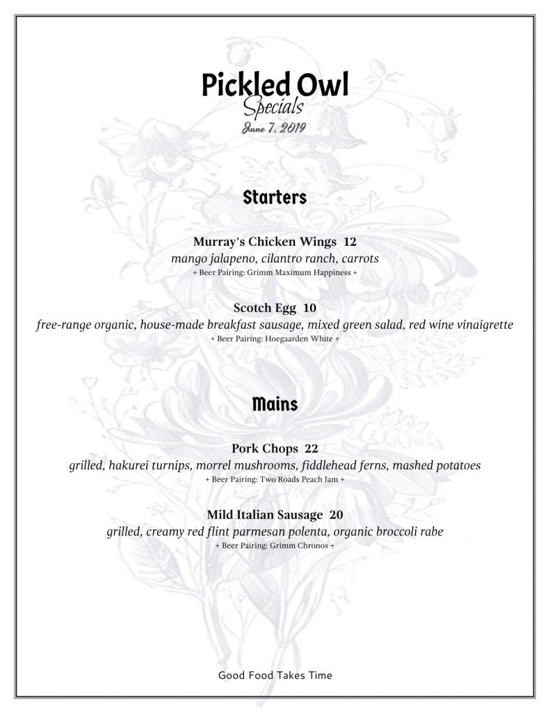 Pickled Owl Specials 6.7.19