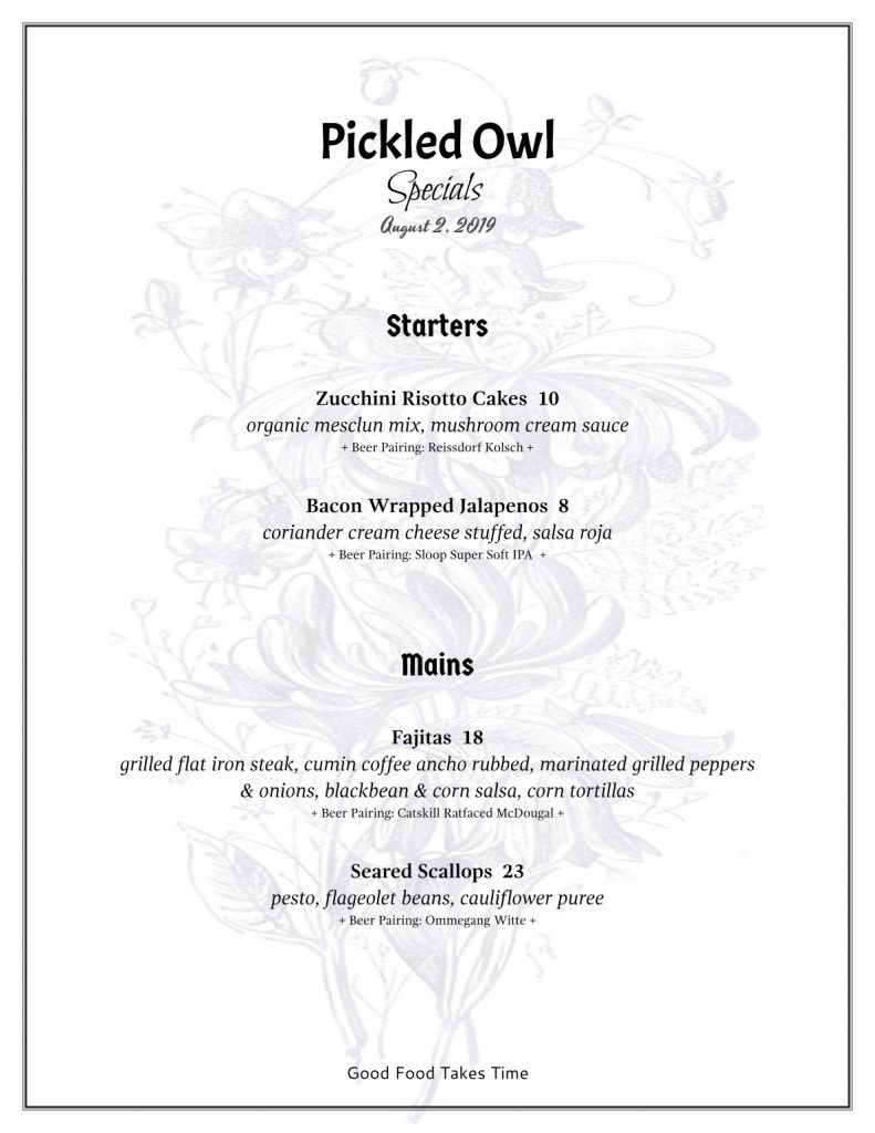 Specials 8.2 Pickled Owl
