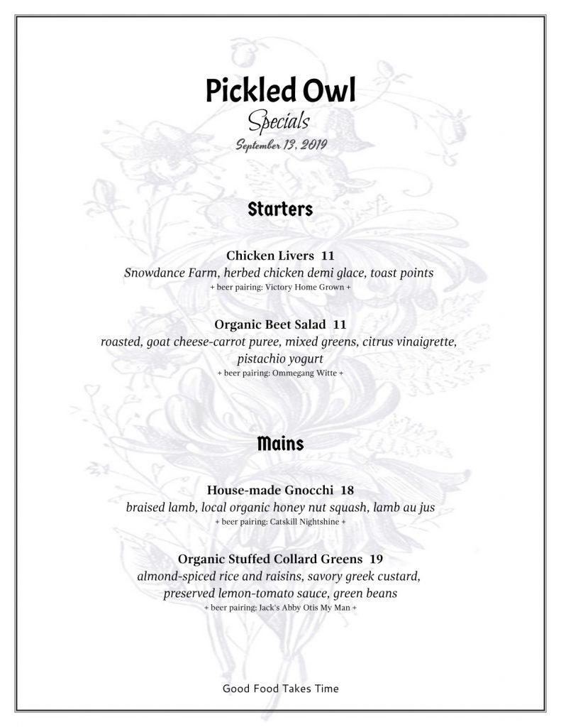 Specials Menu Pickled Owl